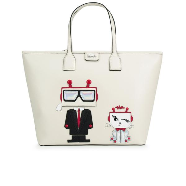 Karl Lagerfeld Women's K/Robot Shopper Karl & Choupette Bag - Cream