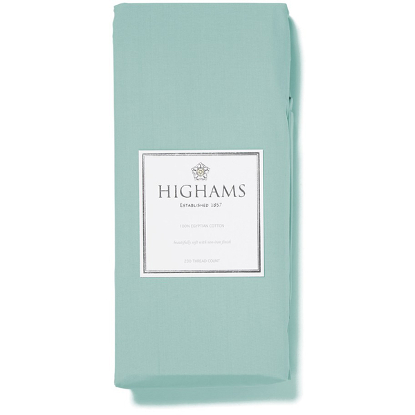 Highams 100% Egyptian Cotton Plain Dyed Fitted Sheet - Duck Egg [China Sizing Only]