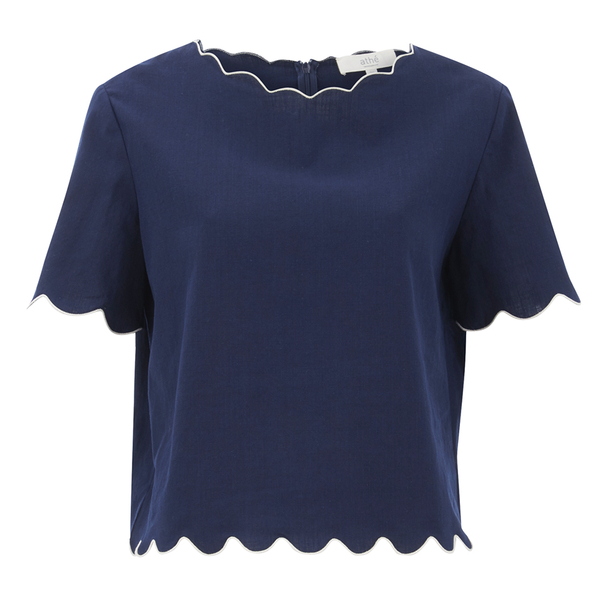 Vanessa Bruno Athe Women's Ernest Scalloped Edge Top - Indigo