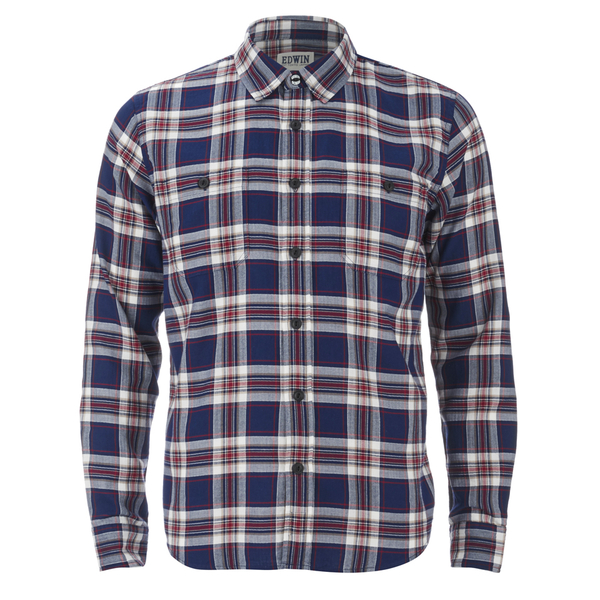 Edwin Men's Labour Herringbone Seersucker Shirt - Blue