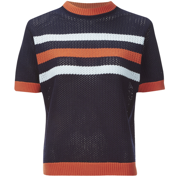 Maison Kitsuné Women's Stripes Openwork Jumper - Navy
