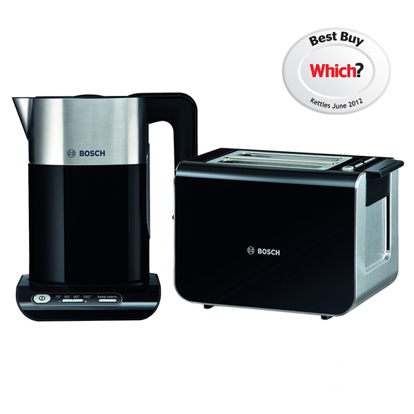 5ebea1c38f2 Bosch Styline Collection TWK8633GB Kettle and TAT8613GB Toaster Bundle -  Black  Image 1
