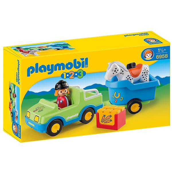 Playmobil -Véhicule avec remorque à cheval (6958)