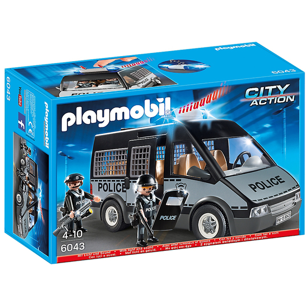 Playmobil city action police van with lights and sound 6043 iwoot - Playmobil camion police ...