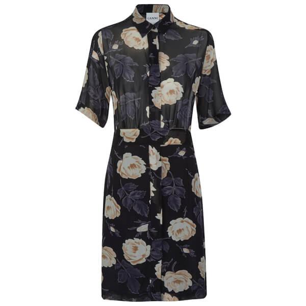 Ganni Women's Allen Georgette Shirt  Dress - Ivory Rose