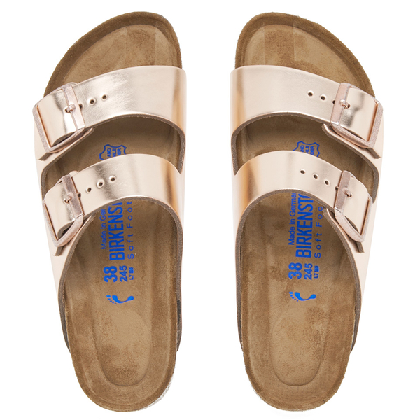 Birkenstock Women's Arizona Leather Slim Fit Double Strap Sandals - Metallic Copper