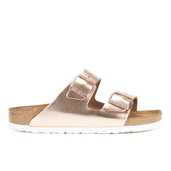 Birkenstock Women's Arizona Leather Slim Fit Double Strap Sandals - Metallic Copper
