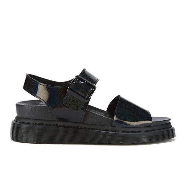 Dr. Martens Women's Shore Romi Petrol Leather Y Strap Sandals - Black:  Image 1