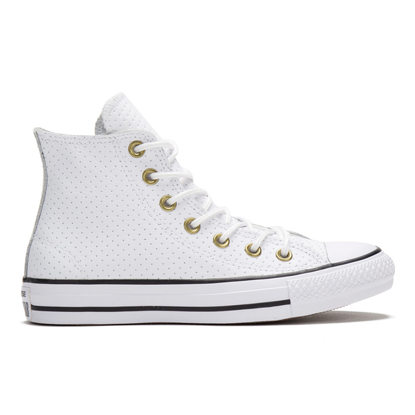 b59246ef26bf5c Converse Women s Chuck Taylor All Star Perforated Leather Hi-Top Trainers -  White Biscuit