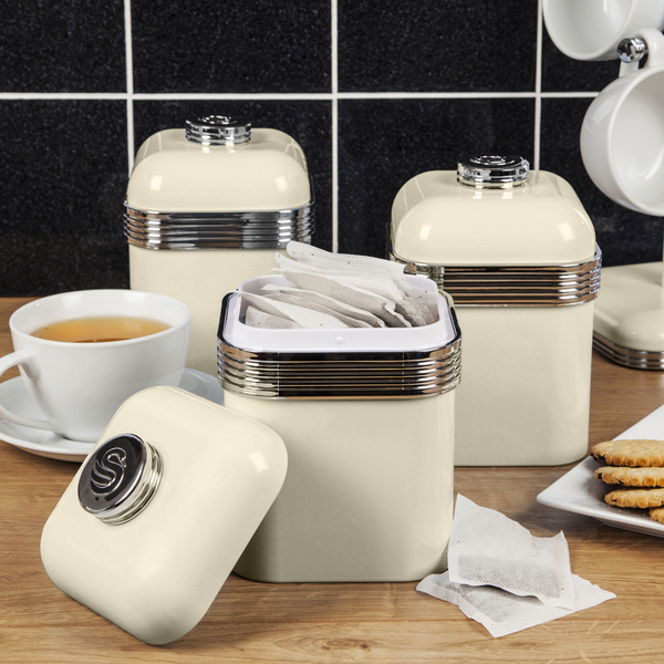 Swan swka1020cn retro set of 3 canisters cream iwoot for Cream kitchen set