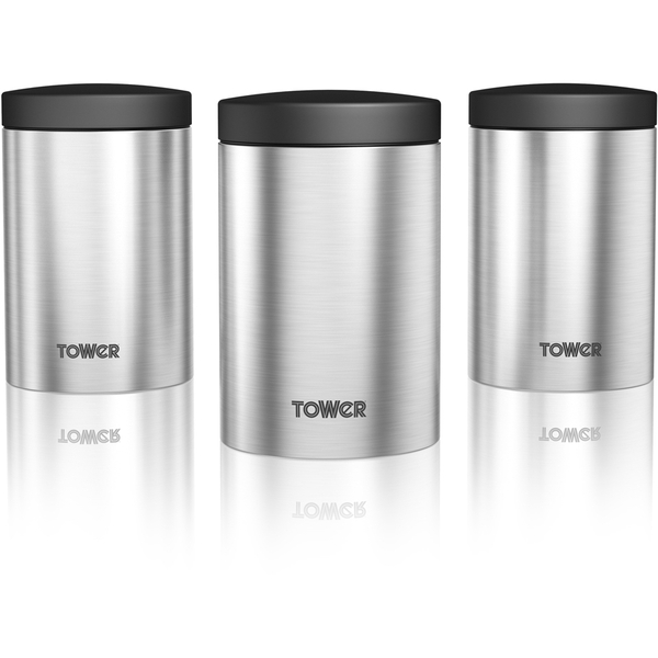 Tower T80103 Set Of 3 Storage Canisters Stainless Steel