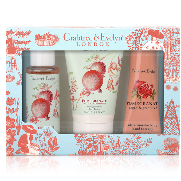 Crabtree & Evelyn Pomegranate, Argan & Grapeseed petits luxes 3 x 50 ml