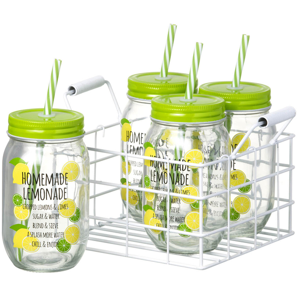 Parlane Set of Jars with Straws - Lemonade (Set of 4)
