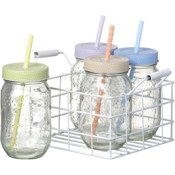 Parlane Spotty Jars with Straws (Set of 4)