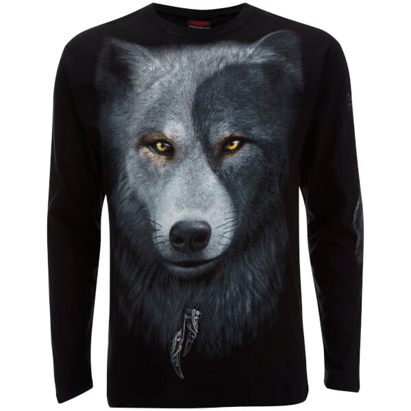Spiral Men's Wolf Chi Long Sleeve T-Shirt - Black