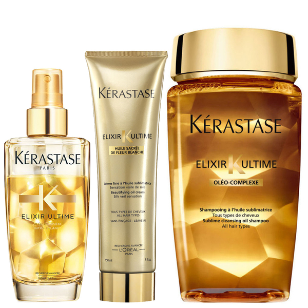 Kérastase Elixir Ultime Huile Lavante Bain 250 ml, Crème Fine 150 ml and Fine Hair Oil 100 ml Bundle