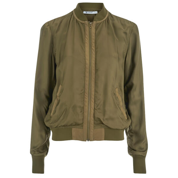 T by Alexander Wang Women's Washed Viscose Twill Bomber Jacket - Fatigue:  Image 1