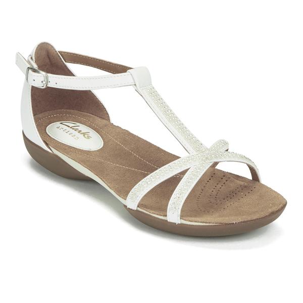 Clarks Womens Raffi Star Leather Beaded Sandals - White -8038