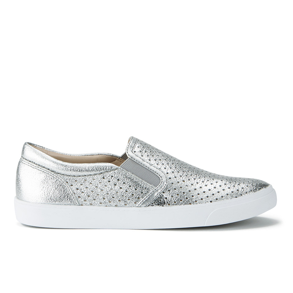 f38d61dec44 Clarks Women s Glove Puppet Leather Slip-On Trainers - Silver Womens ...