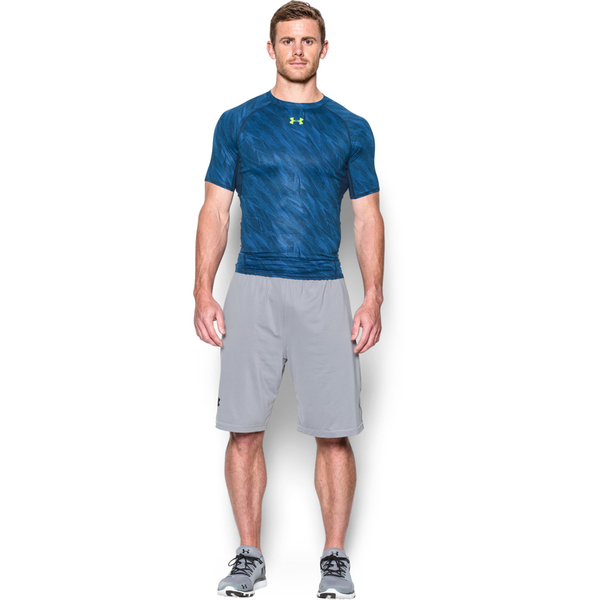 4253aeae3f184 Under Armour Men s HeatGear Armour Printed Short Sleeve Compression Shirt -  Blue Yellow  Image