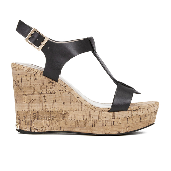 Dune Women's Kier Di Leather Wedged Sandals - Black