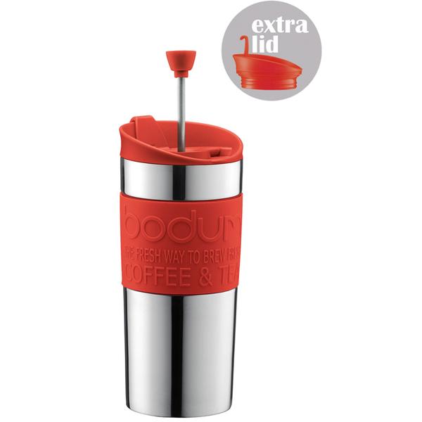 Bodum Travel Press Set Coffee Maker with Extra Lid - Red Homeware TheHut.com