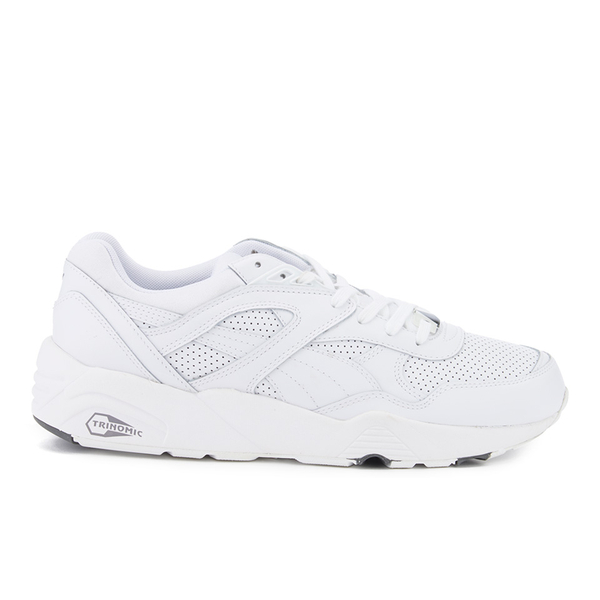 2203648aadc Puma Men s R698 Core Leather Trainers - White Steel Grey - Free UK Delivery  over £50