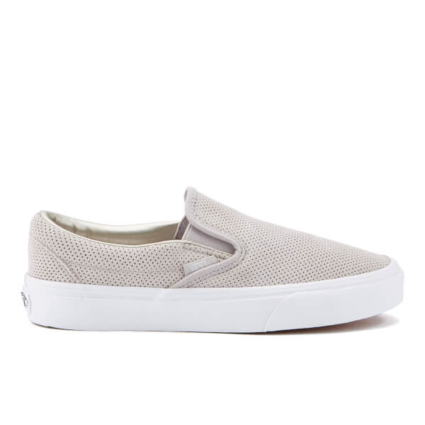 Vans Women s Classic Slip On Perforated Suede Trainers - Silver Cloud True  White  Image 531606bb8