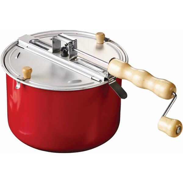 Eddingtons Traditional Stovetop Popcorn Maker - Red/Steel