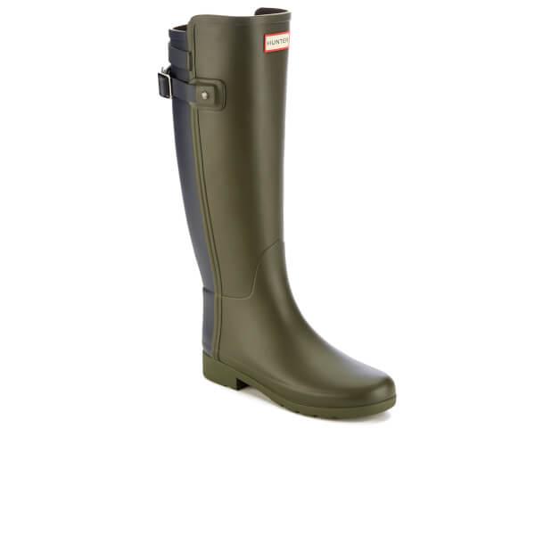 Hunter Women's Original Tall Refined Back Strap Wellies - Dark Olive/Navy - UK 4 cy8QtMnD