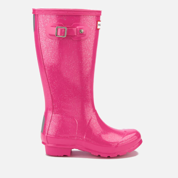 Hunter Kids' Original Glitter Finish Wellies - Fuchsia
