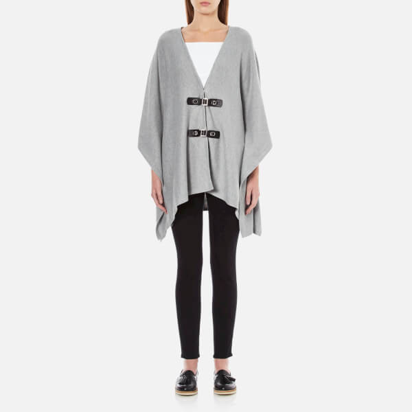 MICHAEL MICHAEL KORS Women's Buckle Front Poncho - Pearl Heather