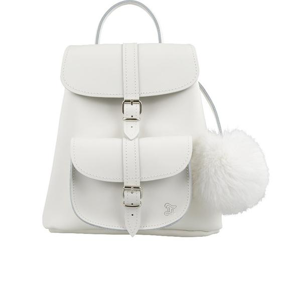 Grafea Women's Snowball Fur Pom Backpack - White