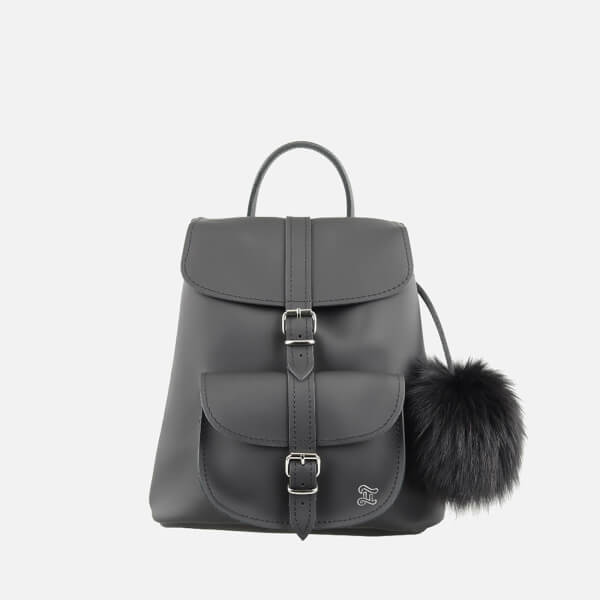 Grafea Women's Fluffy Fur Pom Backpack - Black