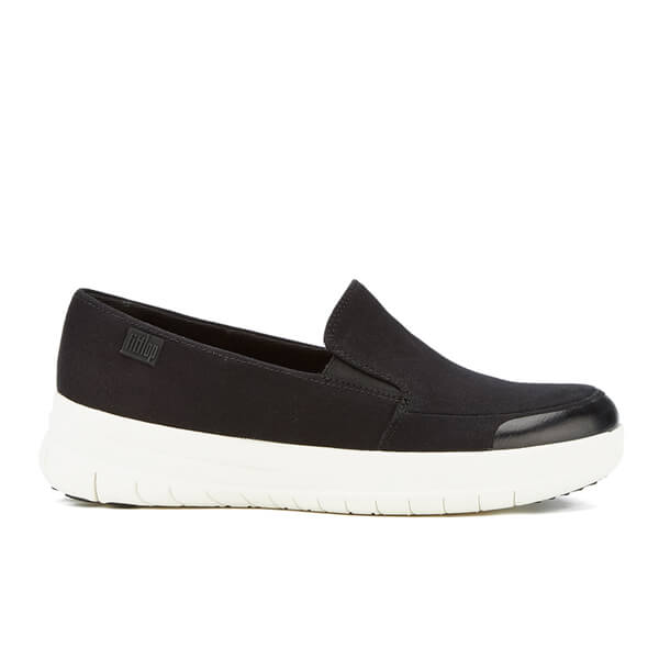 FitFlop Women's Sporty Pop Canvas Skate Slip On Trainers - Black