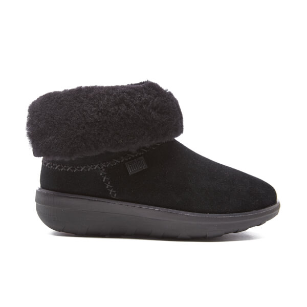 FitFlop Women's Supercush Mukloaff Suede Shorty Boots - All Black