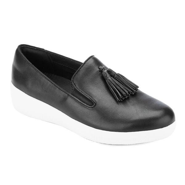 ec7168ff843c7 FitFlop Women s Tassel Superskate Leather Slip On Trainers - Black  Image 2