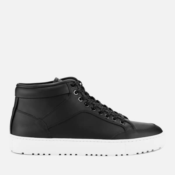 ETQ. Men's High Top 1 Rubberized Leather Trainers - Black