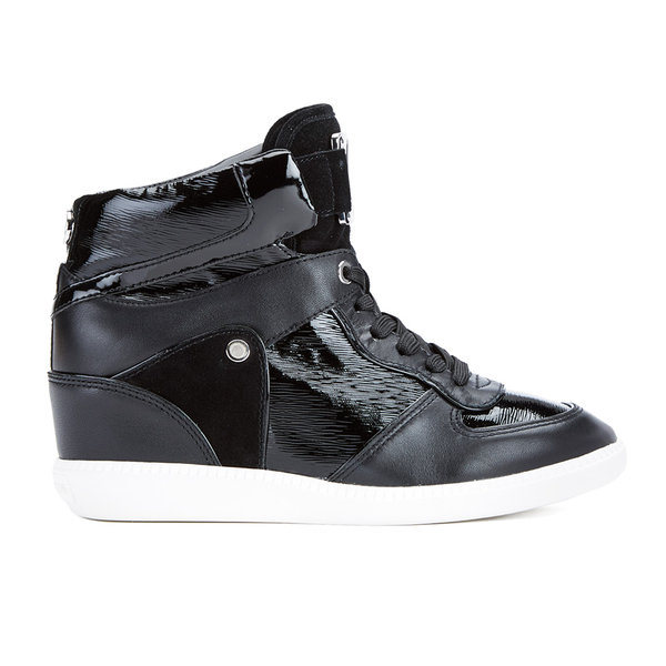 MICHAEL MICHAEL KORS Women's Nikko Leather Hi-Top Wedged Trainers - Black