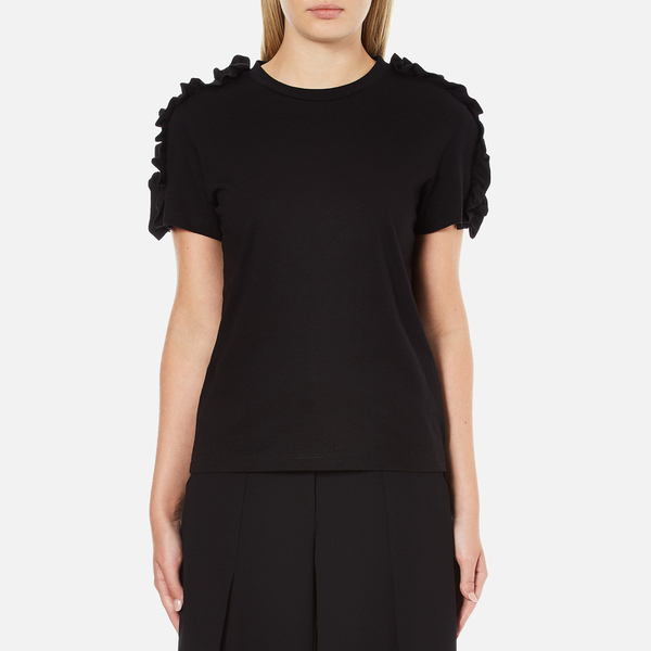Msgm women 39 s frill sleeve t shirt black free uk for Frill sleeve t shirt