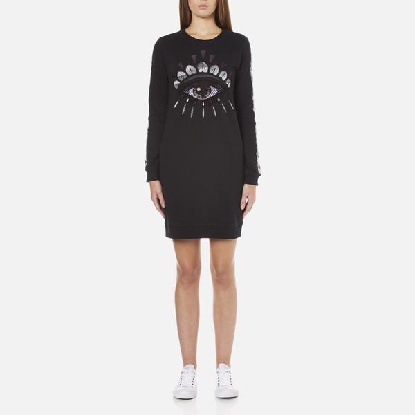 KENZO Women's Eye Sleeve Logo Sweatshirt Dress - Black