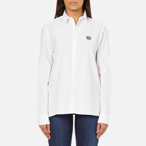 KENZO Women's Shirt with Small Tiger Logo - White