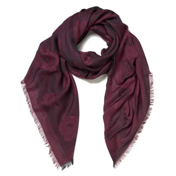 KENZO Women's Iconics Tiger Heads Scarf - Burgundy