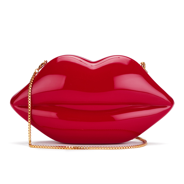 Lulu Guinness Women's Large Perspex Lips Clutch Bag - Red Womens ...