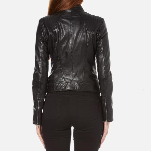boss orange women 39 s janabelle leather jacket black. Black Bedroom Furniture Sets. Home Design Ideas