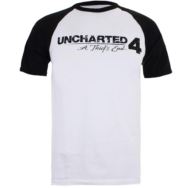 Uncharted 4 Men's Logo Raglan T-Shirt - White/Black