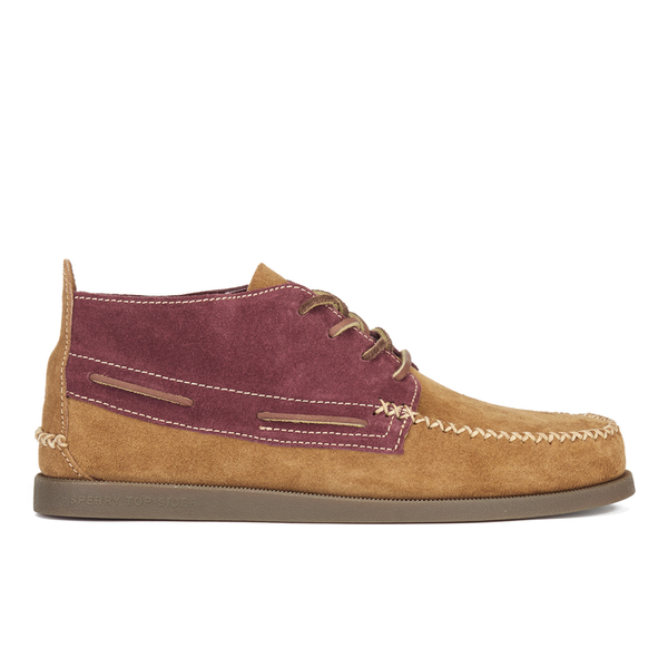 Sperry Men's A/O 2-Eye Wedge Suede Chukka Boots - Tan/Burgundy