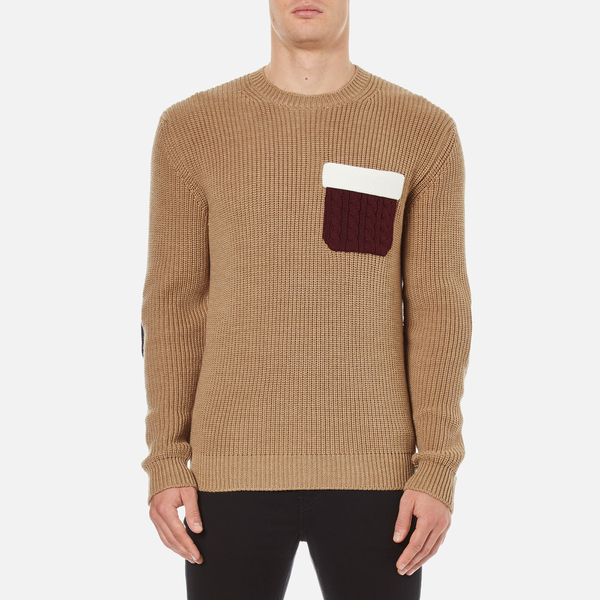 MSGM Men's Contrast Pocket Knitted Jumper - Brown