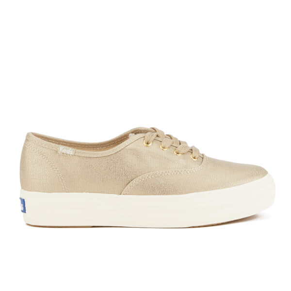 Keds Womens Triple Metallic Canvas Trainers  Gold Image 1