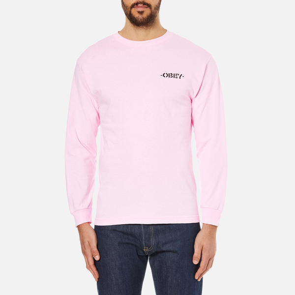 OBEY Clothing Men's Mother Earth Long Sleeve T-Shirt - Pink ...